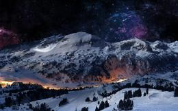 mountains, landscapes, winter, digital art, scene, night sky 225