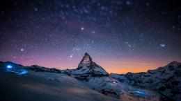 HD Wallpaper mountain night sky snow star, Desktop Backgrounds HD 1998