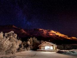 wallpaper Mountains, winter, nature, snow, night, sky, desktop HD 1240