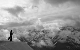 snow mountain sky clouds scenic people cliff photography wallpaper 216