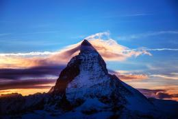 Alps mountains snow night sunset sky clouds landscape nature wallpaper 1569