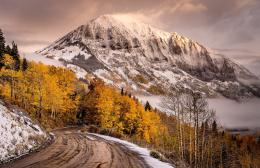 view, road, mountains, sky, snow, fall, winter, autumn splendor 1763