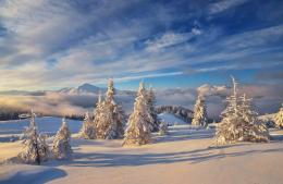 landscape nature winter snow mountains sky clouds wallpaper background 374