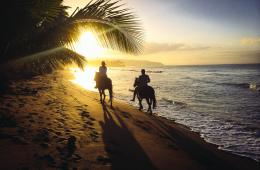 Horseback riding at sunset on the beach near Las Terrenas by Patrick 847