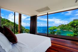Beautiful Glass Wall Bedroom with Sea View Master Bed Dark Laminate 1791