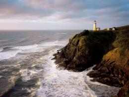 1024x768 Wild Ocean Light House Cliffs desktop PC and Mac wallpaper 1215