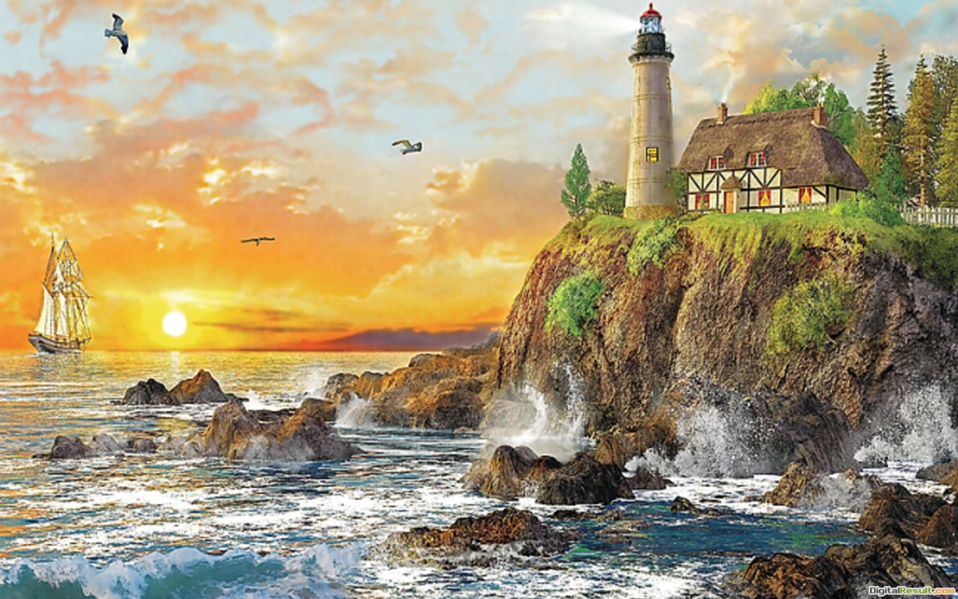 1920x1200 Ocean Cliff Light House Sunset desktop PC and Mac wallpaper 942