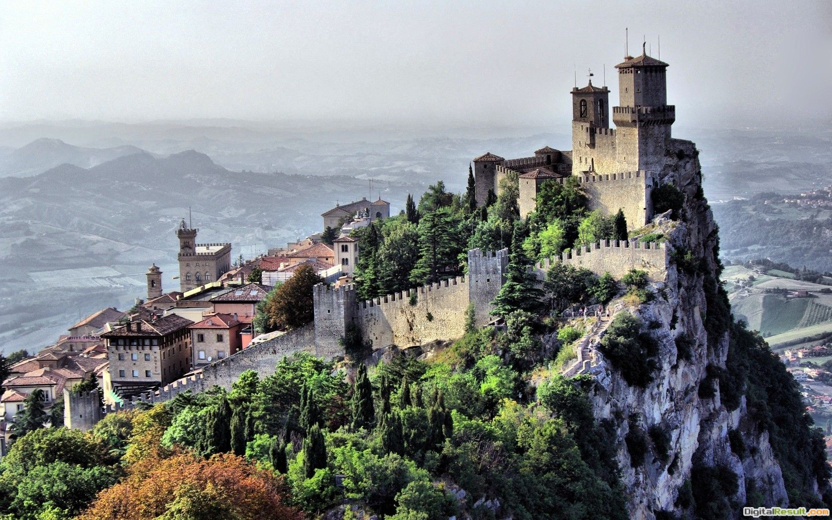 Wallpaper city, country, san marino, landscape, castle, cliff, houses 529