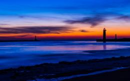 lighthouse night orange sunset blue sky clouds wallpaper background 1881