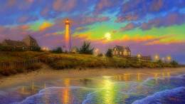 Twilight Moon Dusk Lighthouses Architecture #1733374 190