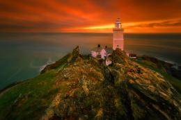Lighthouse at sunset lovely wm dusk fielry HD Wallpaper 1220