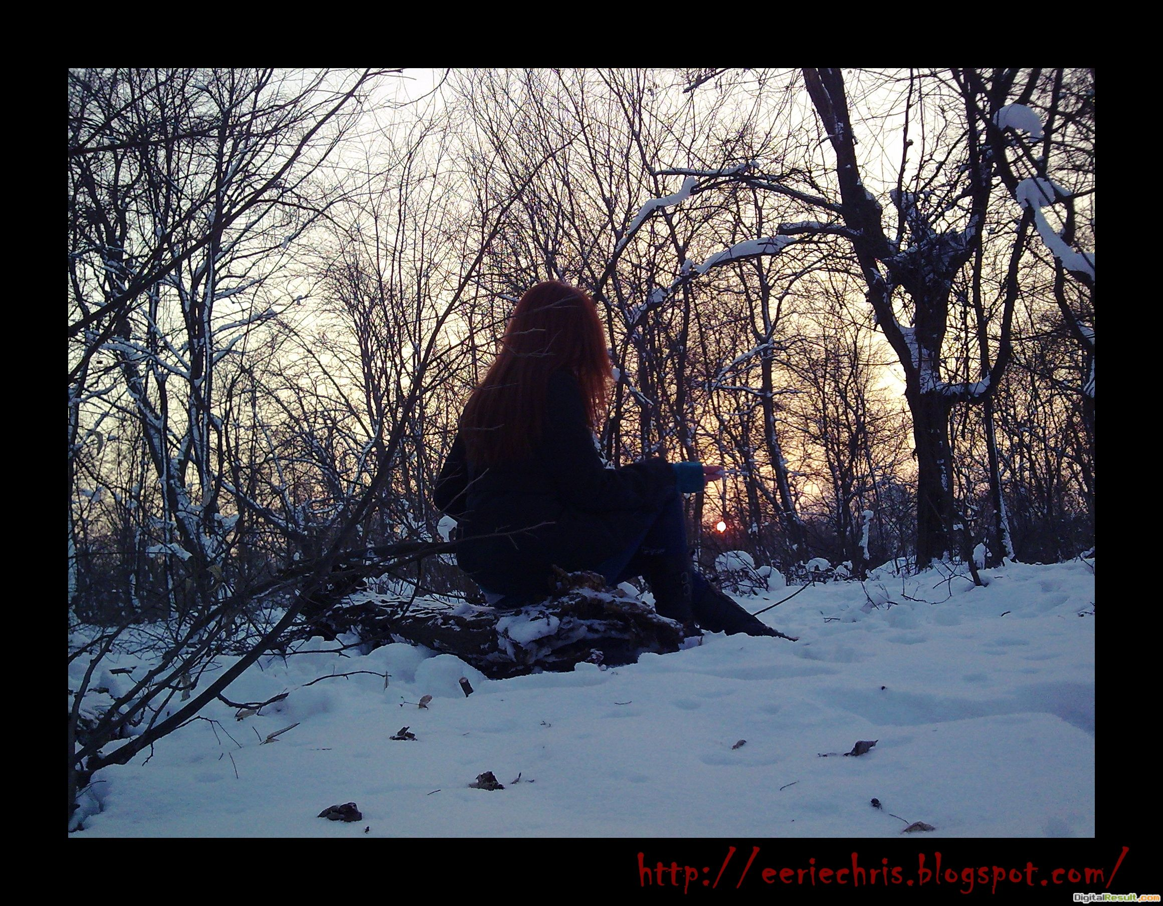 Lonely winter red hair girl people 110
