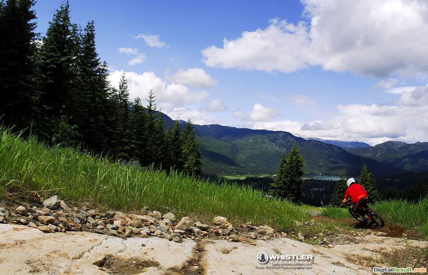 mountain bike wallpaper shows a biker going down the whistler bike 936