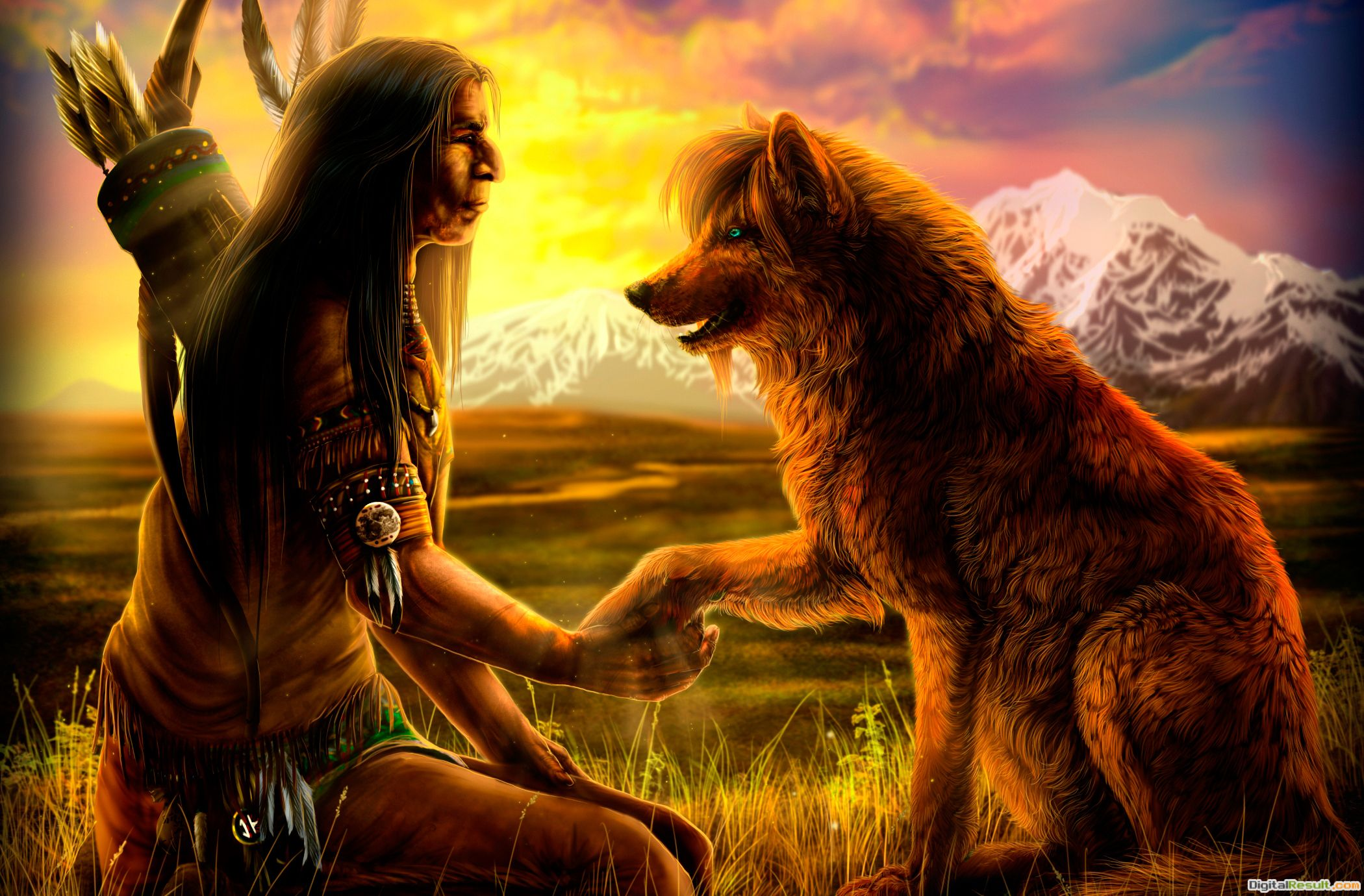native american wolf art, Native with Wolf wallpaperForWallpaper 302