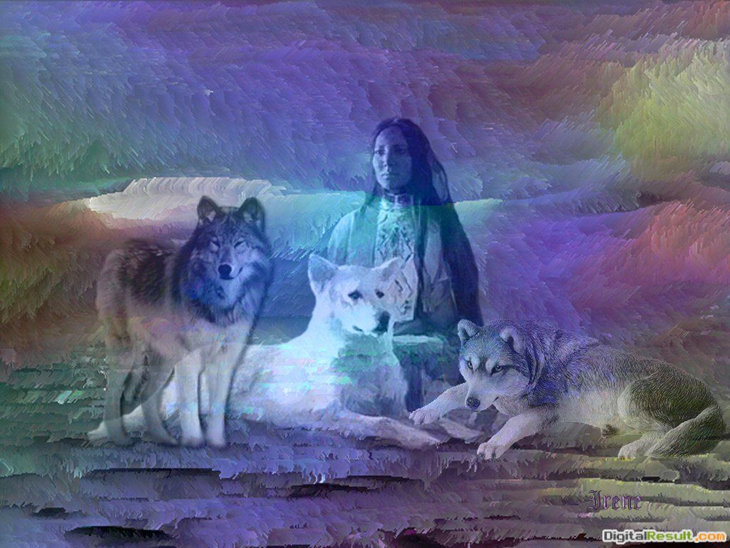 Winter of the Wolf, Wolves And Native American Girl wallpaper 933