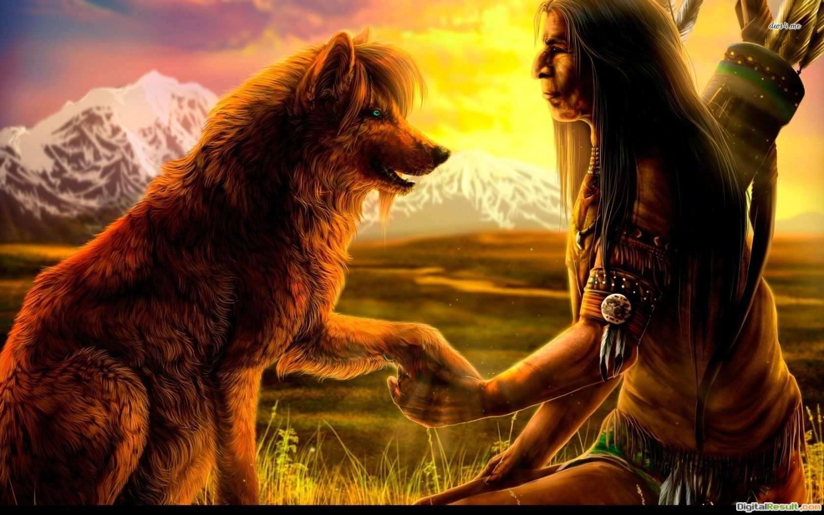 Native american with wolf fantasy abstract HD Wallpaper 1583