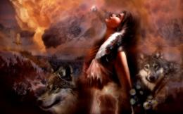 Dreams Fire Hawk Native American Maiden Entropy Wolf Eagle Wallpaper 1971