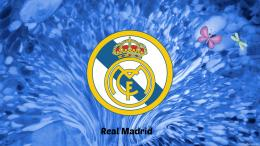 Real Madrid wallpaper with logo on a blue background, and some 1018