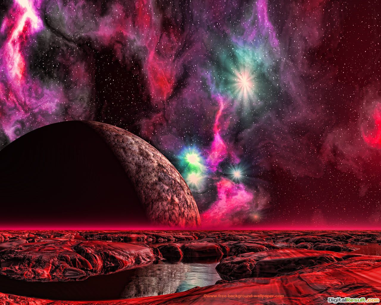 Moon Rise Over Red PlanetSpace Background Wallpaper1280x1024 795