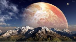 3d Red Planets Over The Mountain 211