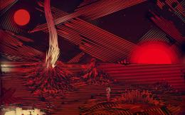 Red striped planet wallpaper 890