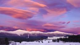 Purple Clouds Over Winter Resort Hotel Hd Wallpaper | Wallpaper List 1862