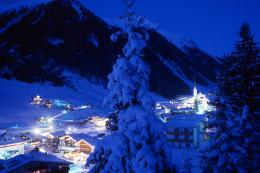 Evening lights at the ski resort of Ischgl, Austria wallpapers and 1680