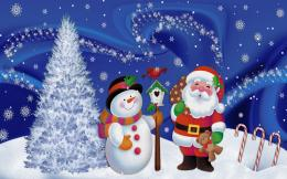 Snowman And Santa Claus In Christmas Wallpaper #10154 Wallpaper | High 1872