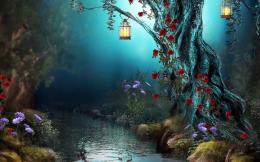 Forest Creek Tree Blossom Lamp Fantasy 2880x1800 919