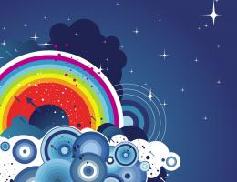 Abstract Rainbow And Clouds Vector Wallpaper 917