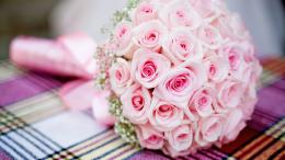 Download Wallpaper 1920x1080 pink, bouquet, roses, wedding Full HD 658