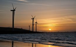 wallpaper of sunset, desktop wallpaper of sea, the wind turbines 1752