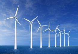 wallpaper wind turbine, sea, sky, clouds free desktop wallpaper 576