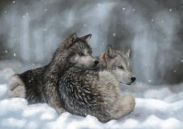 Wolves Painting Art wolf winter snow wallpaper | 1920x1359 | 126225 543