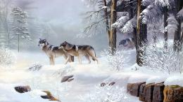 Description: The Wallpaper above is Winter wolves art Wallpaper in 273